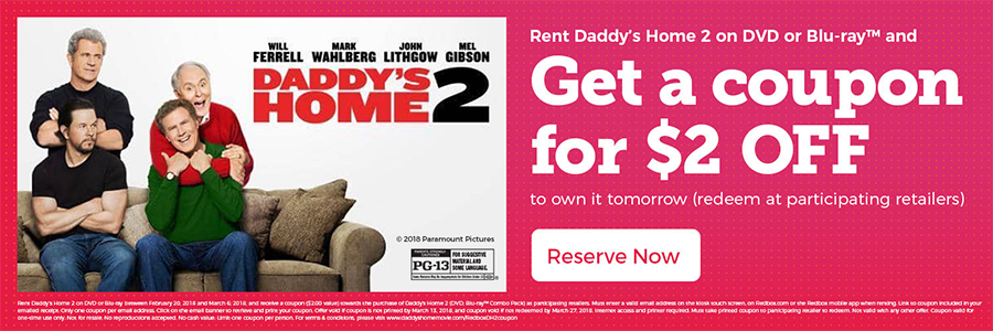 Redbox Offering $2 Off 'Daddy's Home 2' Purchase
