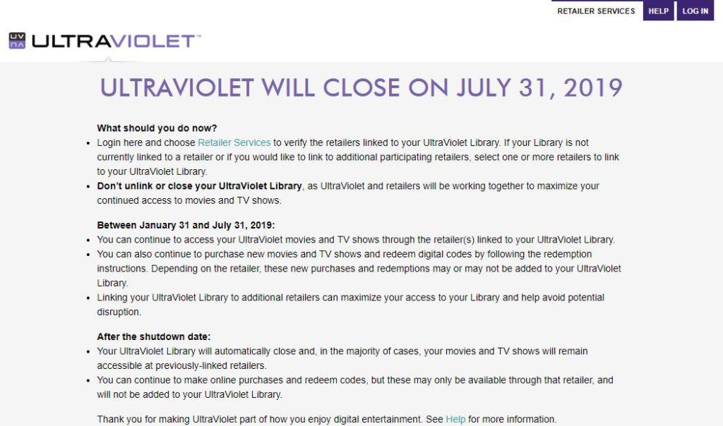 Digital Movie Service UltraViolet Shutting Down July 31
