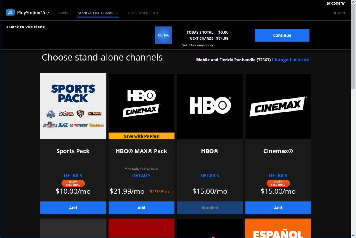 PlayStation Vue Ups Pricing by $5