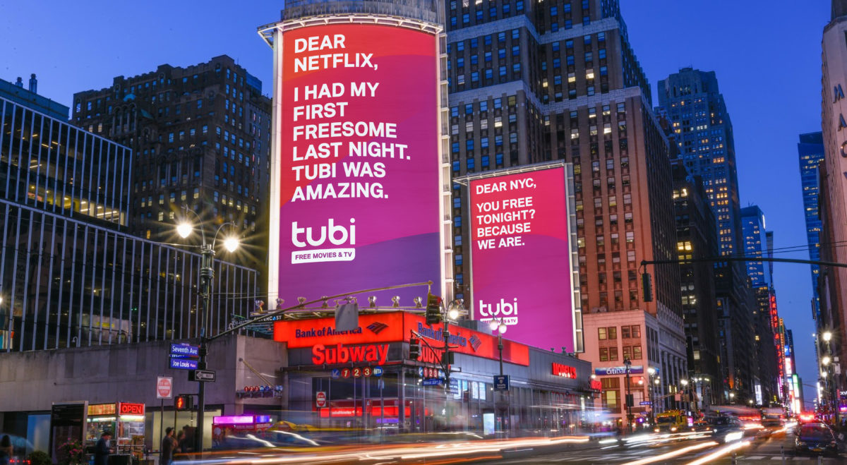 AVOD Service Tubi Targets Netflix, Hulu in Outdoor Branding Campaign