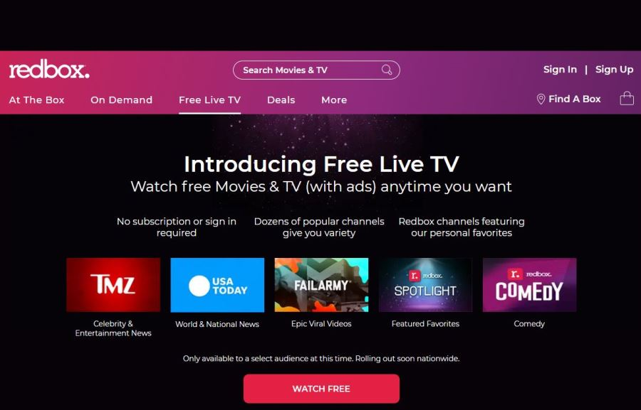 Redbox's Ad-Supported 'Free Live TV' Available Now, Nationwide