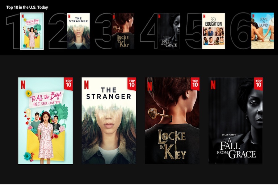 Netflix Rolls Out Top 10 Lists on Site